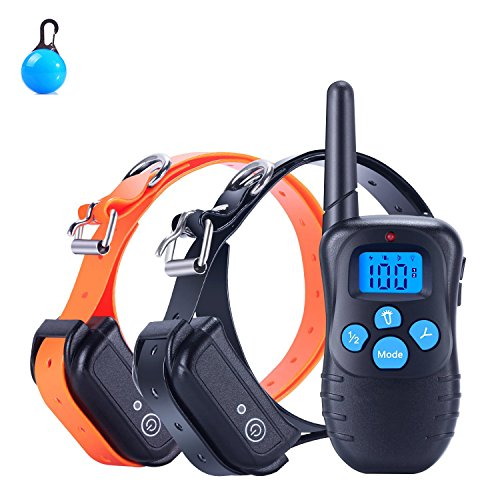 Mincheda [2018 Neue Version] 100% Wasserdichter und wiederaufladbarer Hund Gut Gut 330 Yard Remote Dog Training Gut mit Beep/Vibra/Well Well E-Well