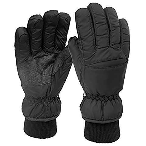 NuoYo Ski Gloves,Full Finger Gloves,Warm for Winter Sports,100% Nylon,for Bike Cycling Climbing Hiking Outdoor Sports,Unisex,Black
