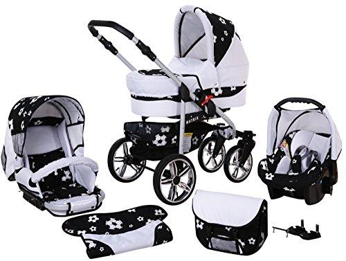 Chilly Kids Matrix II Kinderwagen Komplettset (Autositz & Adapter, Regenschutz, Moskitonetz, Schwenkräder) 66 Weiß & Fußballfieber
