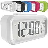 LED Digital-Wecker batteriebetriebener mit Schlummertaste 5,3' extra großem Display Datum, Temperatur-Sensor-Licht Snooze 5 Minuten für Kinder Studenten und Erwachsene(Grün/Pink/Blau/Schwarz/Weiß) (Weiß)