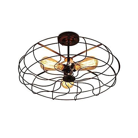 CMYE Plafonnier Vintage rétro ventilateur lumière noir métal Américain lustre plafonniers pour le café restaurant éclairage lumières décoratives E27 Semi-Flush Mount [classe d'énergie A + +] ( Color : 30CM 3 light bulb )
