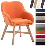 CLP Sedia da sala da pranzo KEPLER con fodera in tessuto, sedia visitatore imbottita, con braccioli, sedia attesa con telaio in legno di faggio, sedia design, sedia moderna arancione Colore base: immagine