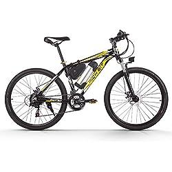 richbit eléctrico Motor de bicicleta de 250W de alto rendimiento de iones de litio recargable, aluminio marco montaña bicicleta Cruz país para Unisex Amarillo