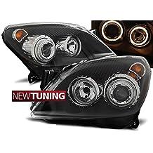 Faros delanteros para Opel Astra H 03.04–09 Angel Eyes, color negro