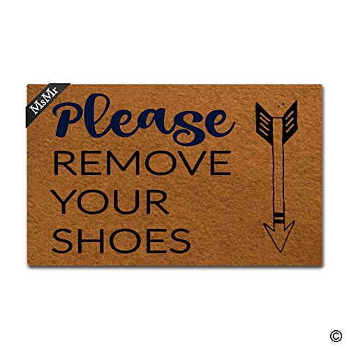 msmr Fußmatte Eingang Fußmatte entfernen Sie bitte Ihre Schuhe Matte Innen dekorativer Home und Office Fußmatte 23,6von 39,9cm (Bitte Entfernen Sie Schuhe Tür Matte)