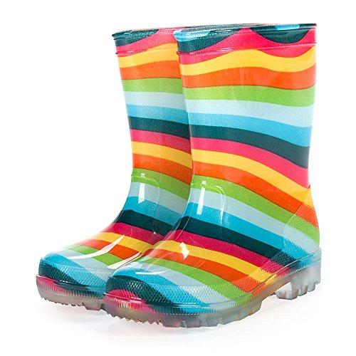 diMio - blinkende LED Regenstiefel in Gr. 26-31 für Kinder mit 5 lustigen Motiven Regenbogen