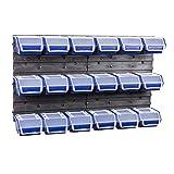 20 tlgs. Wandregal Lagerregal Regal Stapelboxen Ergobox m. Deckel blau Gr. 1