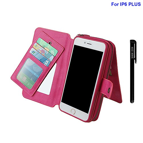 xhorizon Geldbeutel mit Reißverschluss; Premium PU-Leder; magnetische, abnehmbare Folio; Plätze für Kreditkarten, Bargeld; Multifunktionale Etui für iPhone 6 plus/6s plus (5.5 inch ) Rose