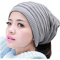 THENICE Unisex cappello lavorato a maglia Beanie Sciarpa (grigio chiaro)