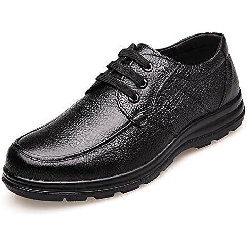 Morbida pelle di cuoio di inverno Men 's Oxford Scarpe Nero , 1 , 44