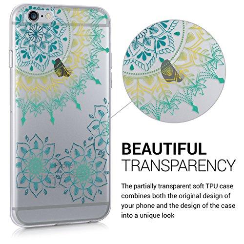 kwmobile Housse miroir pour Apple iPhone 6 / 6S Étui TPU en silicone cover portable, housse de protection en couleur argent miroitant Anneeau de fleurs vintage turquoise jaune transparent