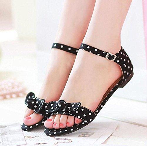Scarpe piatte Sandali Peep Toe Sandali Estate Stampa Panno Pannello Farfalla Fibbia Sandali Femmina Grandi Dimensioni Black