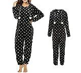 Dreamlove Damen Jumpsuit Einteilige Strampler Body Anzug Onesie Pyjamas Overall Kapuze mit Kordelzug Homewear Schwarz-Weiß L
