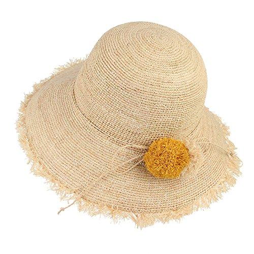 Haihuayan Strohhut Cute Ball Floppy Faltbar Fringe Krempe Raffia Strohhut Dame Mädchen Sun Cap Strand Sommer Hüte Für Frauen Visor (Ball Fringe)