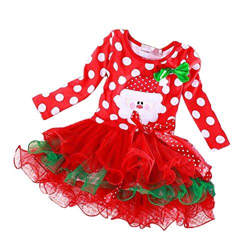 Mädchen Weihnacht Kleider,Feicuan Kinder Langarm Bowknot Tulle Santa Claus Kostüm Party 0-4 Jahre