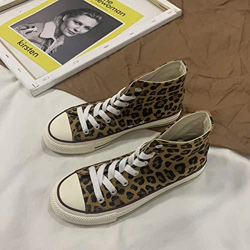 YYAMO Unisex-Turnschuhe Espadrilles Leopard High-Top-Segeltuchschuhe Cooles Mädchen Wohnungen Schuhe Skateboarding Modestudent Outdoor Road Running Schuhe @ 35,22.5Cm