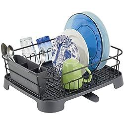 mDesign support à vaisselle en métal et plastique - panier égouttoir avec bec verseur pivotant - egouttoir design pour un plan de travail sec - noir mat/gris ardoise
