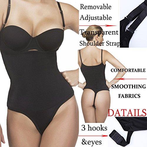 Kiwi-Rata Damen Schlank Body Shapewear Nahtlos Offene Büste Bodysuit Taillenformer Figurformender Body Shaper Schwarz (230-340g)