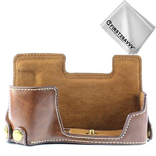 First2savvv dunkelbraun Gehäusehälfte präzise Passform PU-Leder Kameratasche Fall Tasche Cover für Fujifilm X-E3 XE3 - XJPT-XE3-D10G11