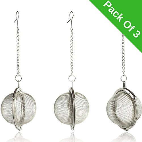 InstaCuppa Tea Infuser / Strainer Ball - Pack Of 3, Made From Premium 304 Grade Stainless Steel, Idle For Green Tea, Loose Leaf Tea & Tea Bags, Long Lasting, Rust Free, Perfect & Flavor Rich Brew