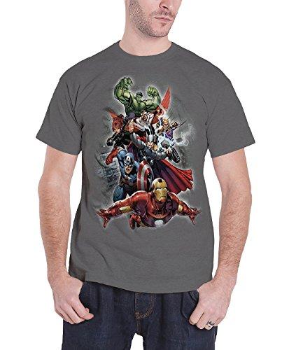 Avengers T Shirt Grau Avengers Group Iron Man Thor offiziell Marvel Comics Grau