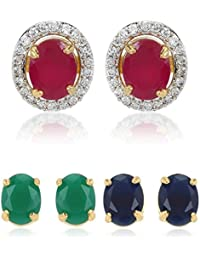 Youbella Multi-Color 6 In 1 Interchangeable Oval Shapedstud Gold Plated Earrings For Women