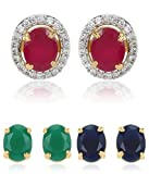 #10: Youbella Multi-Color 6 In 1 Interchangeable Oval Shapedstud Gold Plated Earrings For Women