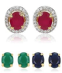 Youbella Multicolor Gold-Plated Stud Earrings For Women/Girls(6 In 1 Interchangeable Earring)