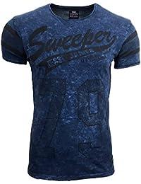 T-Shirt Kurzarm Herren Rundhals Stone Washed Optik Batik Shirt RN-16754 AVRONI, Größe:M, Farbe:Blau