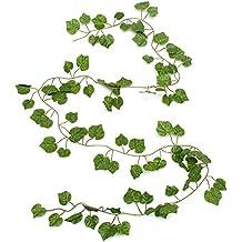 Kungfu Mall 2.3m Artificial hiedra de uva de plástico falso verde hojas de guirnalda jardín decoración