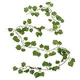 Kungfu Mall 2.3m Artificial hiedra de uva de plástico falso verde hojas de guirnalda jardín...