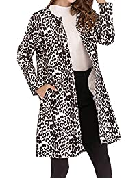bc7060bb6 MyMei Women s Winter Coat Leopard Printed Jacket Long Sleeve Autumn Cardigan  Open Front Outwear