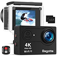 Bagotte 4K Action Cam Wi-Fi 16MP Impermeabile 30M Immersione Sott'Acqua 30fps Action Camera con Schermo 2 Pollici 170°Grandangolare Camera con 2 1050mAh Batterie,Telecomando 2.4G e Kit Accessori