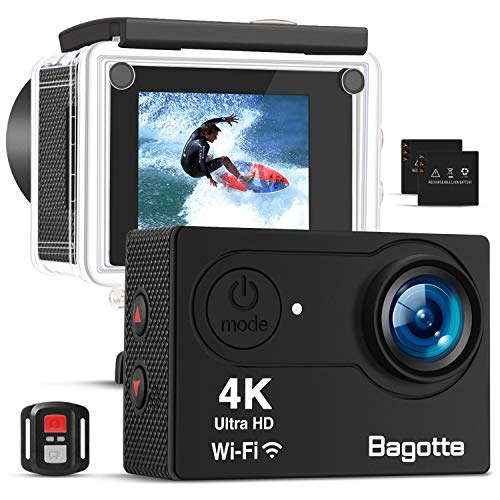 Bagotte 4K Action Cam Wi-Fi 16MP Impermeabile 30M Immersione Sott\'Acqua 30fps Action Camera con Schermo 2 Pollici 170°Grandangolare Camera con 2 1050mAh Batterie,Telecomando 2.4G e Kit Accessori