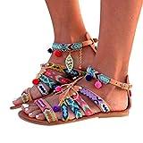 ZARLLE Sandalias De Mujer Verano Sandalias Bohemia Mujer Gladiador Sandalias De Cuero Zapatos Bajos Sandalias Pom Pom Sandalias Casuales Zapatos De Playa Sandalias (38, Multicolor)