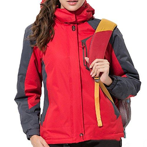 emansmoer Damen Winddicht Baumwolle gepolstert Fleecefutter Mantel Wasserdicht Outdoor Sport Ski Wandern Camping Jacke (XXX-Large, Rot) (179cm Ski)