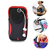 Brazalete Deportivo Universal, Móviles Bandas para el Brazo Jogging Gimnasio Deportes Fitness Armband Funda para iPhone X/8/7/6/6S/5S/5C/SE/5 Plus,Samsung Galaxy Huawei HTC etc. (Negro/Rojo)
