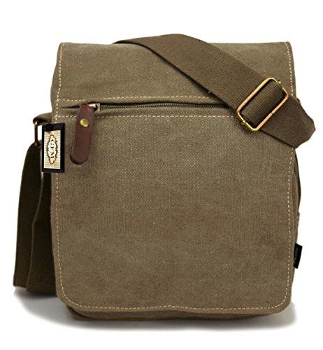 Seconds GFM -  Borsa Messenger classica in tessuto ideale per la scuola, per portare in  ufficio, in viaggio - Stile casual X14KEK - Brown