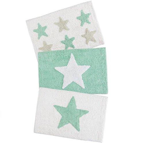 Dcasa - Juego de 3 alfombras multiuso diseño estrellas mint 40x60 cm .