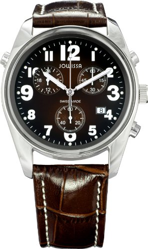 Jowissa Ginebra Men's Quartz Watch with Brown Dial Analogue Display and Brown Leather Strap J7.001.L