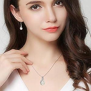 Clearine Donna Parure gioielli-Collana Orecchini Delicato Elegante con Argento e Perla Coltivata d'acqua dolce