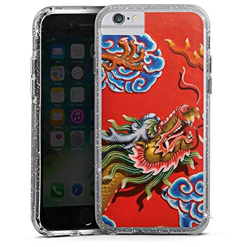 Apple iPhone 7 Bumper Hülle Bumper Case Glitzer Hülle China Dragon Drache Bumper Case Glitzer silber