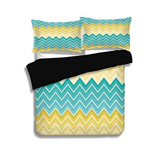 Schwarzer Bettbezug-Set, gelb und blau, horizontale Chevron-Motive, Zick-Zack-Linien-Muster, Ombre-inspiriertes Design, Aqua-Senf, dekoratives 3-teiliges Bettwäscheset, 2 Kissenbezüge, TWIN-Größe (Twin Bettwäsche Für Mädchen Chevron)