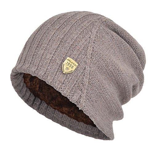 f91ea699fbb6f5 Janey&Rubbins Winter Slouchy Baggy Beanie Fleece Lined Oversize Skull Cap  Knit Ski Hat (Khaki)