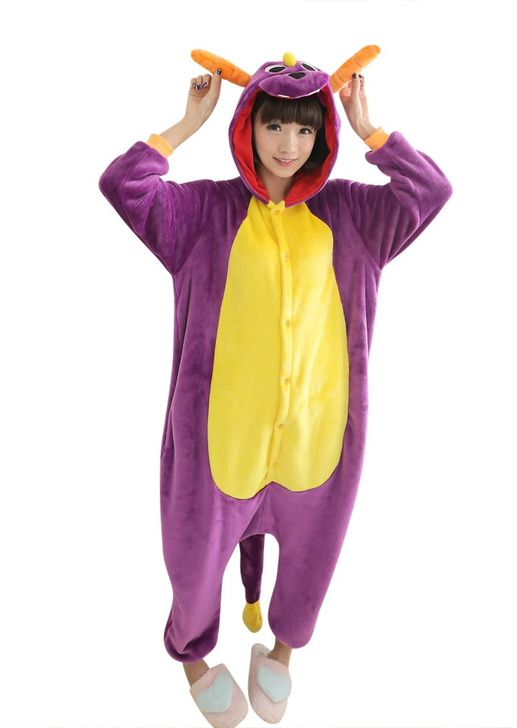 Molly Unisex Adulto Kigurumi Pigiama Cosplay Costume Animale Pigiama L Porpora Drago
