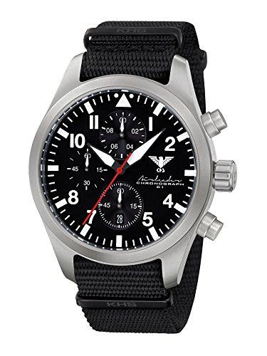 Airleader Steel Chronograph KHS.AIRSC.NB Edelstahl, Natoband schwarz, KHS Tactical Watch, Einsatzuhr, Fliegeruhr