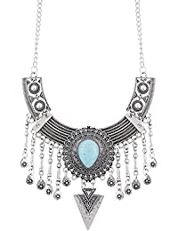 Aradhya Oxidized Silver Designer Stone Statement Necklace For Women And Girls