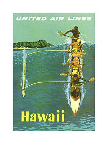 united-airline-canoe-hawaii-pacific-vintage-advert-art-framed-art-print-picture-mount-f12x1526