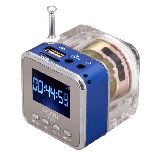 Andoer Mini musica digitale MP3/4Player Micro SD/TF USB Disk portatile con radio FM - blau