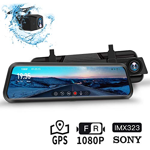 """Dash Cam, DuDuBell 10""""-IPS-Touchscreen-Dashcam, Dual Dashcam (1080P + 1080P, 310 ° Weitwinkel) mit Nachtsicht bei Sternenlicht HDR Plus, GPS inklusive, IP68 wasserdichte Rückfahrkamera"""